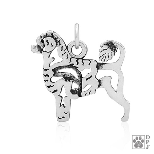 Portuguese Water Dog, Lion Cut, Body pendant - recycled .925 Sterling Silver