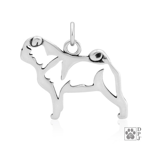 Pug, Body pendant - recycled .925 Sterling Silver