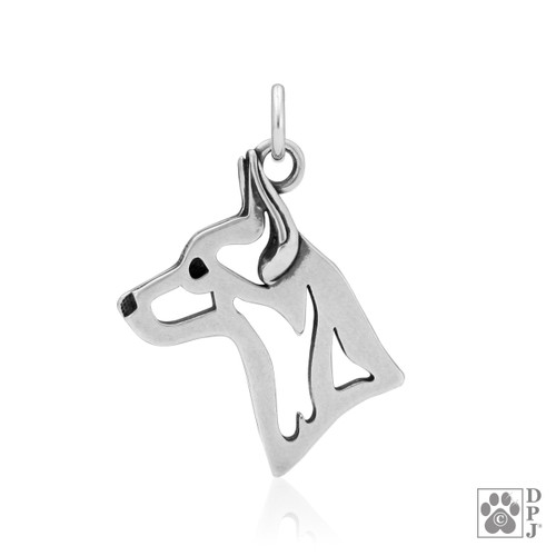 Rat Terrier, Head Pendant - recycled .925 Sterling Silver