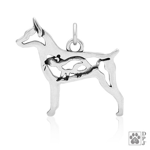 Rat Terrier w/Rat, Doc Tail, Body Pendant - recycled .925 Sterling Silver