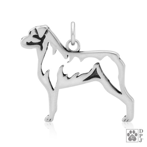 Rottweiler, Body Pendant - recycled .925 Sterling Silver