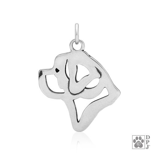Saint Bernard, Head pendant  - recycled .925 Sterling Silver