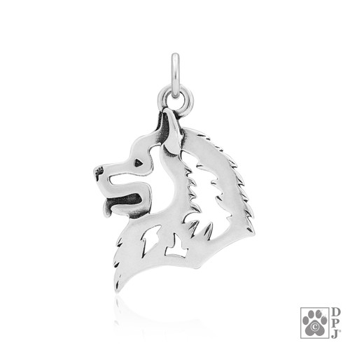 Samoyed, Head pendant - recycled .925 Sterling Silver