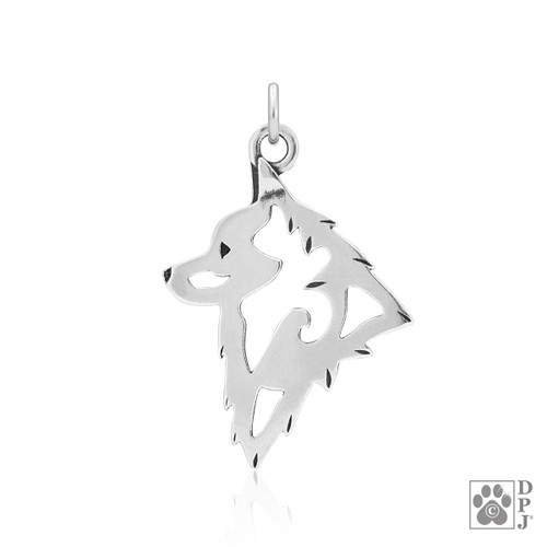 Schipperke, Head Pendant - recycled .925 Sterling Silver