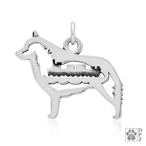 Schipperke w/Barge, Body pendant - recycled .925 Sterling Silver