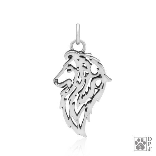 Shetland Sheepdog, Head pendant  - recycled .925 Sterling Silver