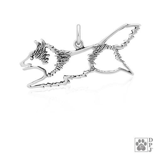 Shetland Sheepdog Jumping, Body pendant - recycled .925 Sterling Silver