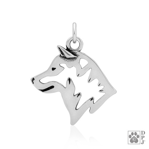 Shiba Inu, Head pendant - recycled .925 Sterling Silver