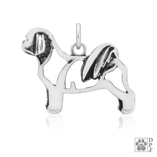 Shih Tzu, Teddy Bear Cut, Body pendant  - recycled .925 Sterling Silver