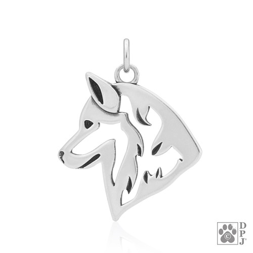 Siberian Husky, Head pendant - recycled .925 Sterling Silver