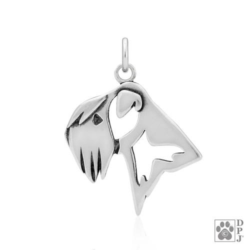 Soft Coated Wheaten Terrier, Head pendant - recycled .925 Sterling Silver