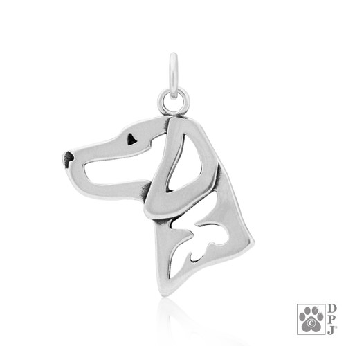 Vizsla pendant, Hungarian Vizsla head pendant, Vizsla Sterling Silver charm