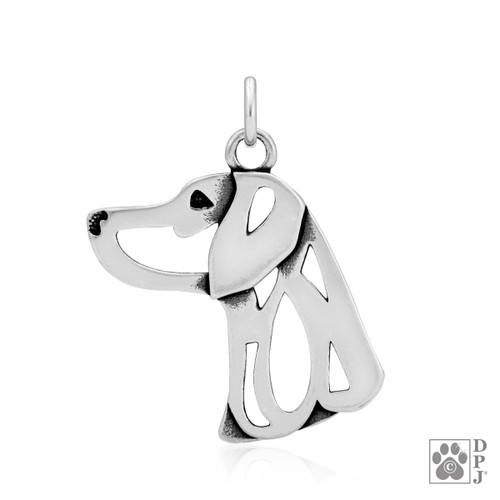 Weimaraner, Head Pendant - recycled .925 Sterling Silver