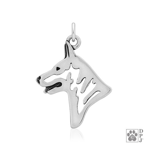 White Shepherd, Head pendant - recycled .925 Sterling Silver