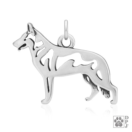 White Shepherd, Body pendant - recycled .925 Sterling Silver