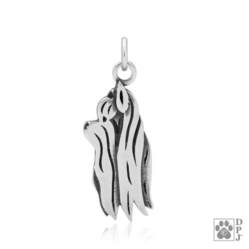Yorkshire Terrier Show Cut, Head pendant  - recycled .925 Sterling Silver