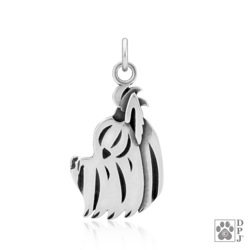 Yorkshire Terrier, Puppy Cut, Head pendant - recycled .925 Sterling Silver