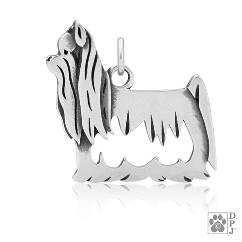 Yorkshire Terrier, Show Cut, Body pendant - recycled .925 Sterling Silver