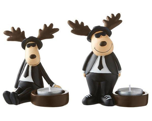 Mila Cool Blues Moose tea light holder -14 cm