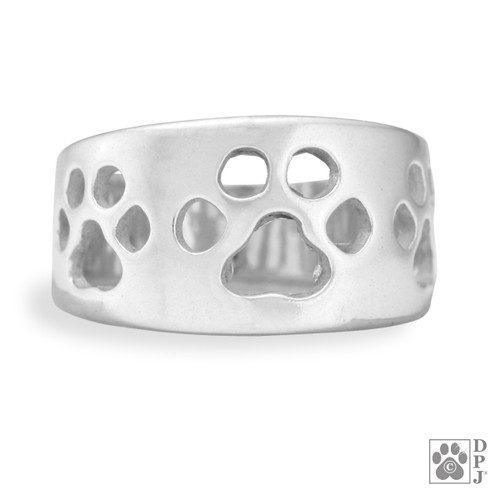 Paw Ring- Wide Band - solid recycled .925 Sterling Silver - made in USA