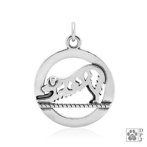Downward Dog pendant - Golden Retriever - recycled .925 Sterling Silver