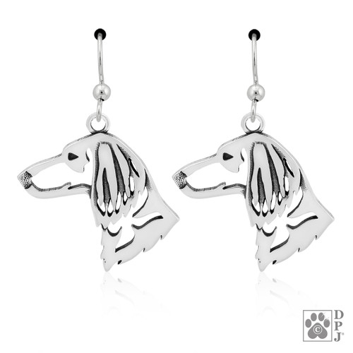 Dachshund Long Hair Heads - recycled .925 Sterling Silver Earrings
