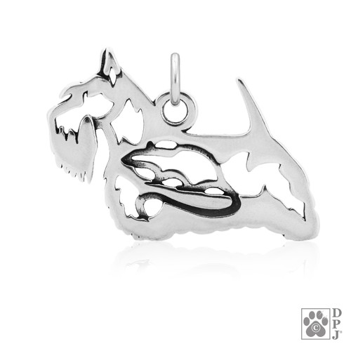 Scottish Terrier, Body - Pendant - recycled .925 Sterling Silver