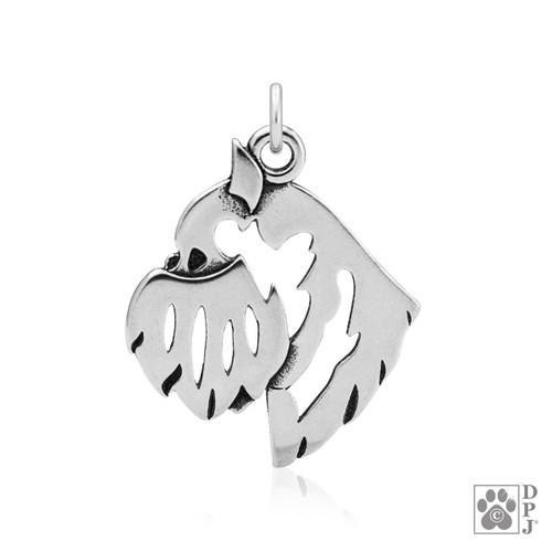Brussels Griffon, Rough, Head - Pendant - recycled .925 Sterling Silver