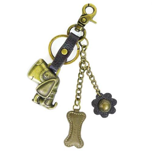 Toffy Dog - Key Chain/ Bag Charm - bronze metal