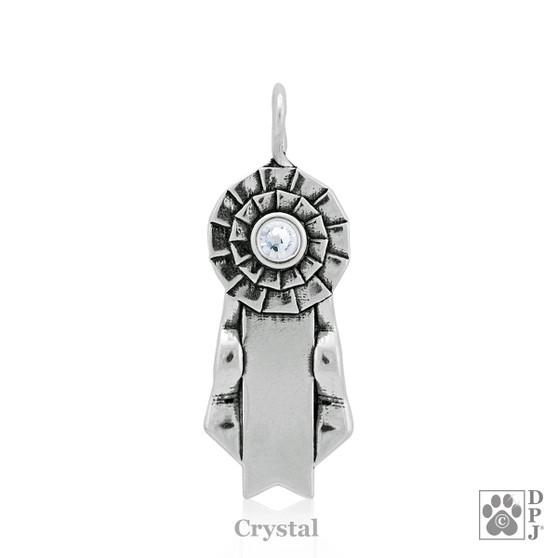 Celebrate Paws Ribbon Pendant with Swarovski Crystal - 925 Sterling Silver