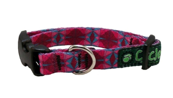 Cycle Dog - EcoWeave - Small Dog Collar - Fuchsia Teal Kaleidoscope- (15cm-30cm)- for dogs up to 13.5kg