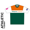 Short sleeve Athletic T-shirt club design in full sublimation print. Front picture showing custom design