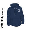 Roberttown Road Runners Navy youth hooded top front image with embroidered club badge on chest