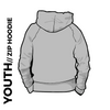 Roberttown Road Runners zipped youth grey hooded top back image