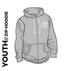 Roberttown Road Runners zipped youth grey hooded top front image with embroidered club badge on chest