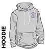 Kirkstall Harriers grey hooded top front image with embroidered club badge on chest