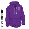 Kirkstall Harriers purple zipped hooded top front with embroidered badge on left chest