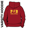 Pudsey and Bramley AC maroon and gold varsity hooded top back with printed badge C on centre back