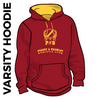 Pudsey and Bramley AC maroon and gold varsity hooded top front with printed badge B on centre chest