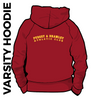 Pudsey and Bramley AC maroon and gold varsity hooded top back with printed badge D on centre back