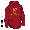 Pudsey and Bramley AC maroon hooded top front with printed badge B on centre chest