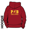 Pudsey and Bramley AC maroon hooded top back with printed badge C on centre back