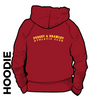 Pudsey and Bramley AC maroon hooded top back with printed badge D on centre back
