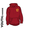 Pudsey and Bramley AC maroon Youth hooded top front with printed badge A on left chest