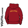 Pudsey and Bramley AC maroon Youth hooded top back with printed badge D on centre back
