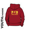 Pudsey and Bramley AC maroon Youth hooded top back with printed badge C on centre back