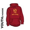 Pudsey and Bramley AC maroon Youth hooded top front with printed badge B on centre chest
