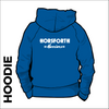 Horsforth Harriers royal hooded top back with printed club text on centre back