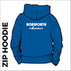 Horsforth Harriers royal zipped hooded top back with printed club text on centre back