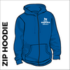 Horsforth Harriers royal zipped hooded top front with embroidered club badge on left chest
